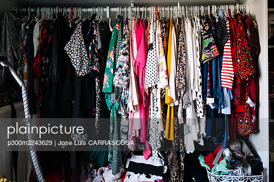 Variation of womenswear hanging on clothes rack in wardrobe at apartment - p300m2243629 by Jose Luis CARRASCOSA
