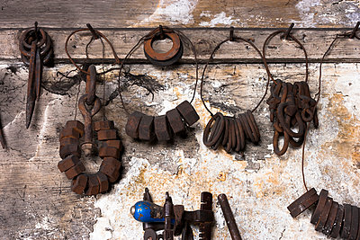 Germany, Bavaria, Josefsthal, tools at historic blacksmith's shop - p300m950762f by Tom Chance