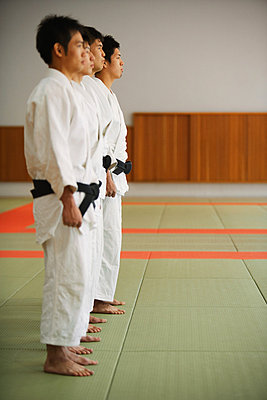 Members of a Judo Dojo Lined Up - p3070566f by Score. by Aflo