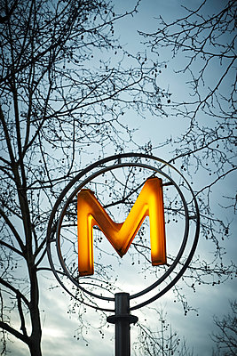 Illuminated Sign of a subway station in Paris - p1312m2164027 by Axel Killian
