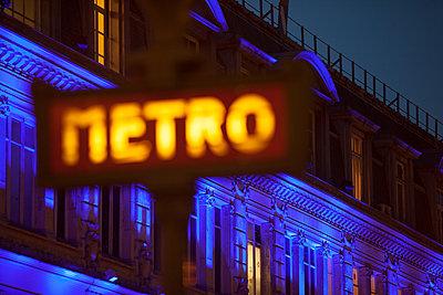 Paris Metro Sign (Blue) - p1490m1578299 by Michael Malyszko