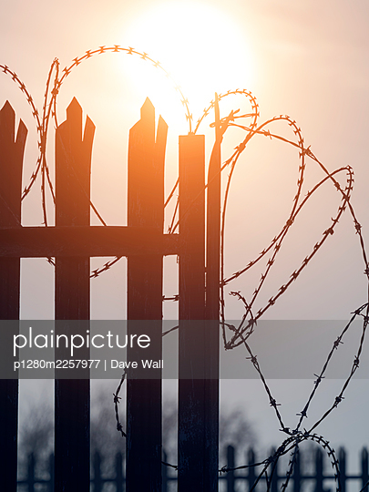 Security fence with barbed wire at sunset - p1280m2257977 by Dave Wall