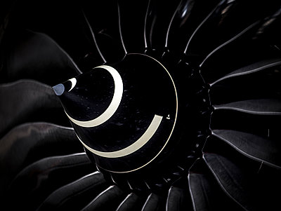 Turbine jet engine on an airliner view from the front - p1166m2162946 by Cavan Images