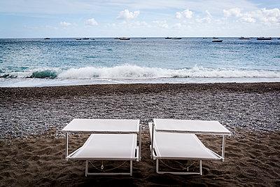 Two deckchairs, Positano, Amalfi coast, Italy - p1170m1590104 by Bjanka Kadic