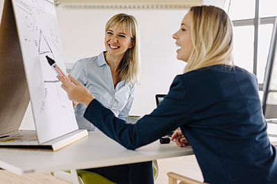 Two young businesswomen working with flip chart in office - p300m2155301 by Joseffson