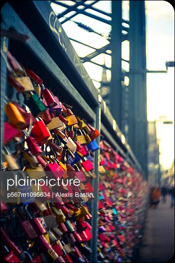 Love locks on bridge - p567m1095634 by Alexis Bastin