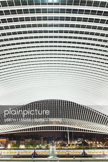 Bahnhof Liège-Guillemins in Lüttich, Dachkonstruktion - p587m1155055 von Spitta + Hellwig