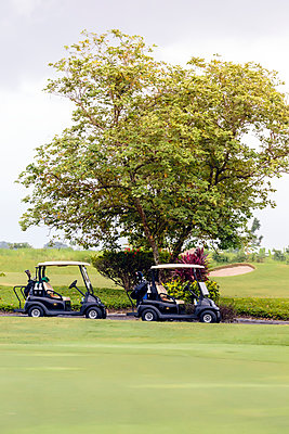 Golf carts on golf course in Bali - p1108m1441024 by trubavin