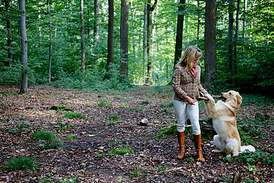 A woman is playing fetch with a dog in the forest - p728m729071 by Peter Nitsch
