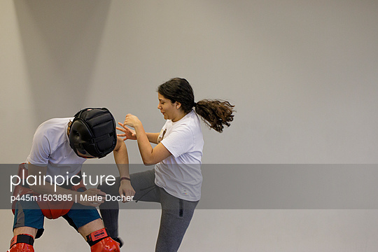 Woman training for self defense - p445m1503885 by Marie Docher