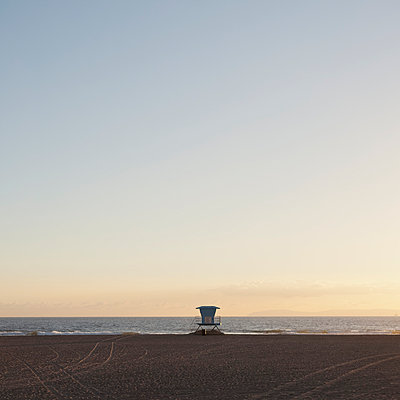 Lifeguard tower on beach - p495m903914 by Jeanene Scott