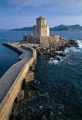 Bourtzi Islet and Tower Methoni Peloponnese, Greece - p8551983 by Joe Cornish