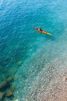 Canoe alone, Nice, France - p778m2037565 by Denis Dalmasso