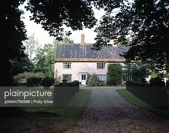 16th century Suffolk coach house with horse chestnut trees on driveway approach - p349m790568 by Polly Eltes