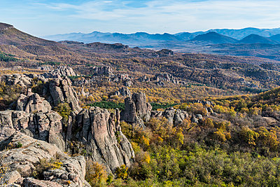 Kaleto Rock Fortress, view over the rock formations, Belogradchik, Bulgaria - p871m2074234 by Michael Runkel