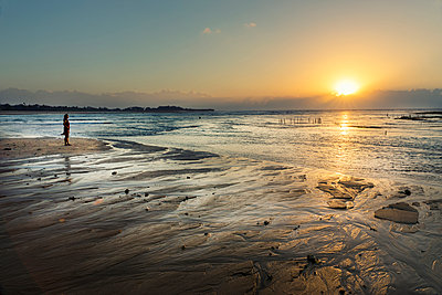 Sunrise at beach - p1445m2122549 by Eugenia Kyriakopoulou
