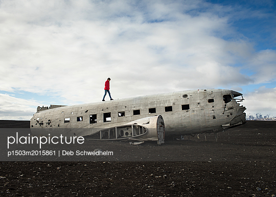Girl on Plane Wreck from 1973 - p1503m2015861 by Deb Schwedhelm