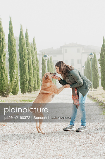 Woman playing with her dog in a park. - p429m2190372 by Senserini Lucrezia