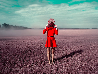 Woman in red dress - p1413m2219826 by Pupa Neumann
