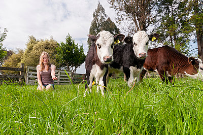 Girl feeding calfs - p1201m1040610 by Paul Abbitt