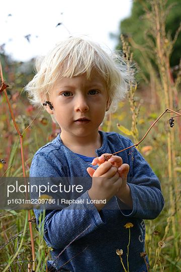 Kleiner Junge auf einer Wiese - p1631m2209786 von Raphaël Lorand