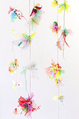 Swags of plastic flowers  - p1371m1225735 by virginie perocheau