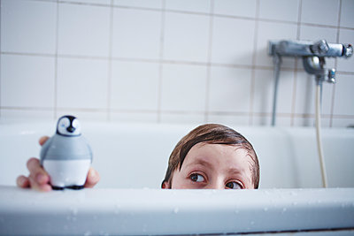 Child Playing In The Bathtub With Penguin Toy  - p847m1529618 by Mikael Andersson