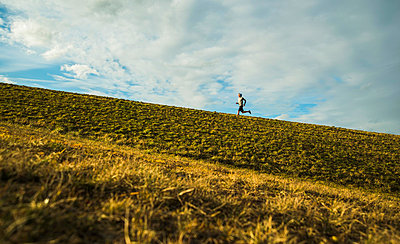 Germany, Mannheim, young man jogging in meadow - p300m1023539f by Uwe Umstätter