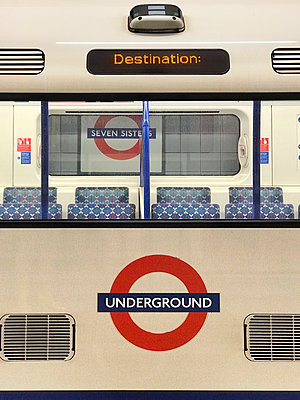 Underground tube train at Seven Sisters, London - p1048m2016758 by Mark Wagner