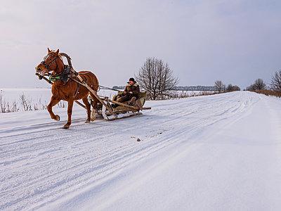 Pferdeschlitten im Winter  - p390m1582798 von Frank Herfort
