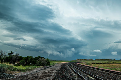 Tornadic supercell beginning to dissipate after producing tornados, Scottsbluff, Nebraska, USA - p429m1494513 by Jessica Moore