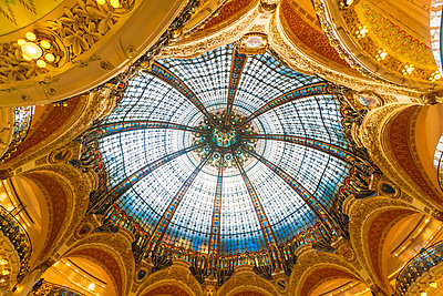 Galleries Lafayette Ceiling. The huge glass ceiling is a focal point of the iconic Paris department store. - p1332m1502790 by Tamboly