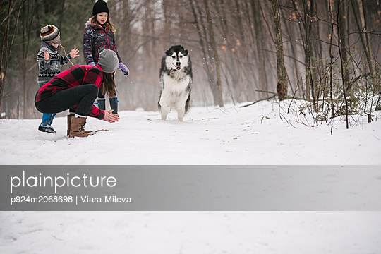 Family with pet dog playing in snow landscape - p924m2068698 by Viara Mileva
