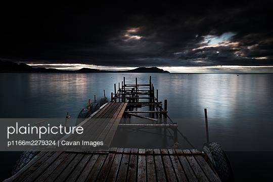 Novi Svet Dilapidated Pier View Out To Sea, Long Exposure - p1166m2279324 by Cavan Images