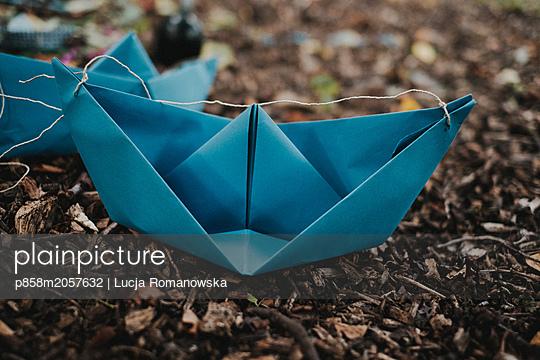Papierschiff im Laub - p858m2057632 von Lucja Romanowska
