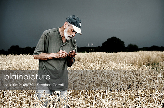 Farmer on field - p1019m2148279 by Stephen Carroll