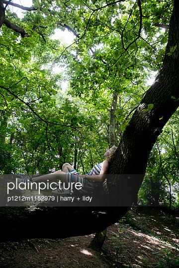 Mädchen liegt auf einem Baumstamm - p1212m1152979 von harry + lidy