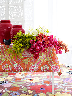 Vases with cut flowers for arranging - p349m2167662 by Polly Wreford