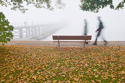 Germany, Hagnau, Lake Constance, Tourists and autumn leaves - p300m879331 by Holger Spiering
