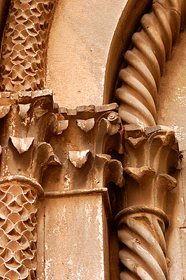 Ornate stone carved pillars, St Lawrence Cathedral, Trogir, Dalmatian Coast - p8551587 by Stuart Cox