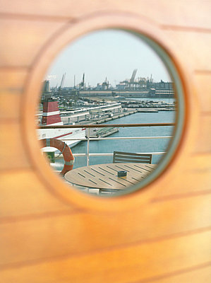 Porthole on a cruise ship - p4470344 by Anja Lubitz