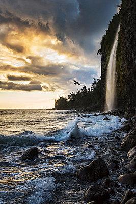 Sunrise from the bottom of Waipio Valley, in Koala coast, Big Island, Hawaii, USA - p651m2006614 by ClickAlps
