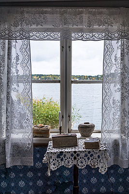 Window with embroidered curtains - p1170m1491686 by Bjanka Kadic