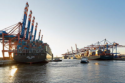 Container ships in the Port of Hamburg - p300m961745 by Mel Stuart