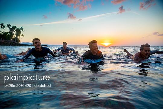 Surfers gliding in sea at sunset, Pagudpud, Ilocos Norte, Philippines - p429m2091420 by dotdotred
