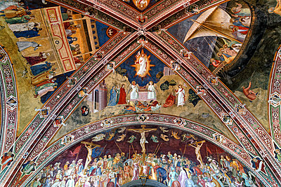 Italy, Florence, Basilica Santa Maria Novella, Chapter room with Ceiling painting - p1154m2160782 by Tom Hogan