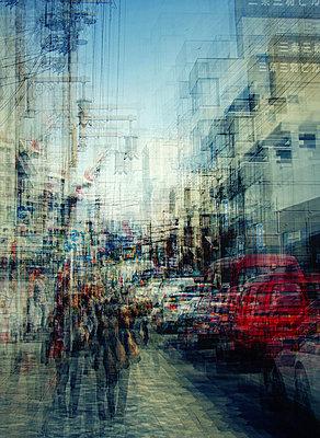 City traffic, Nara, Japan, multiple exposure - p1640m2245927 by Holly & John