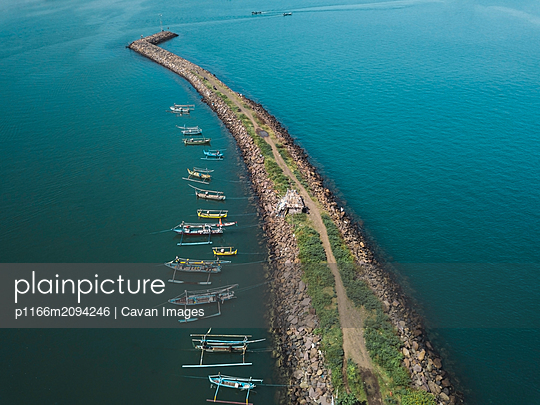 Aerial view of harbor mole - p1166m2094246 by Cavan Images