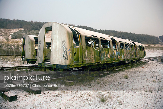 Two abandoned tube trains - p378m795737 by Christopher Bethell