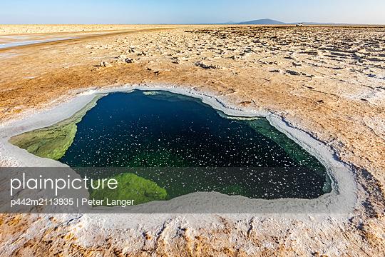 Pool of brine in the Salt flats of Lake Karum (Lake Assale), Danakil Depression; Afar Region, Ethiopia - p442m2113935 by Peter Langer